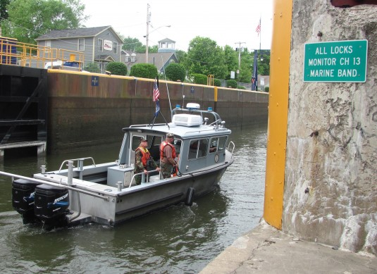 Boat entering canal lock