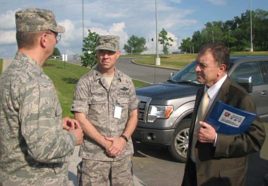 Congressman Richard Hanna greets Brig. Gen. Anthony German and Col. John Bartholf.