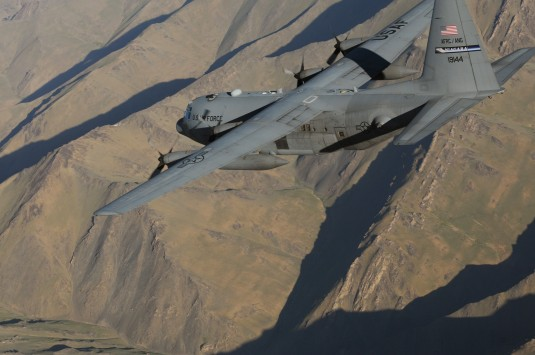 107th Airlift Wing C-130 flies over Afhganistan