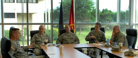 Major General Murphy talking with Air Guard Chaplains