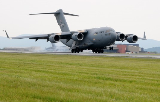 First of Eight C-17s Lands at Stewart