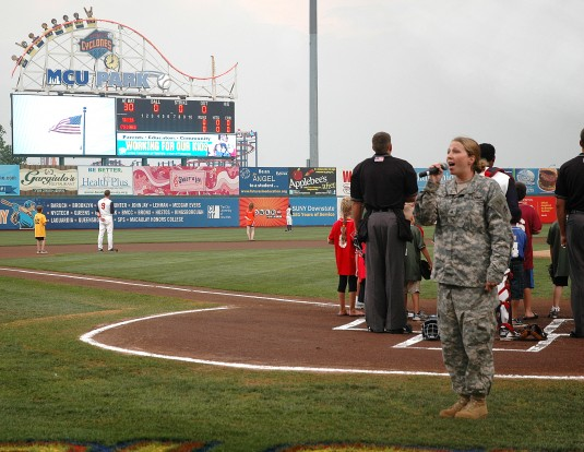 Guard Soldier Opens Brooklyn Ball Game