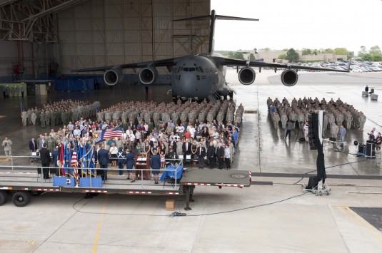 105th Airlift Wing members in formation in front of C-17