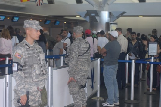 New York National Guard members of Joint Task Force Empire Shield, the standing homeland security force based at Fort Hamilton in Brooklyn, provide additional security at JFK International Airport September 11
