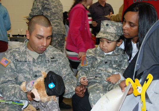 New York Army National Guard Soldier says farewell to family during departure ceremony