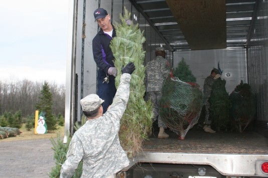 Soldiers load Christmas trees into trucks.