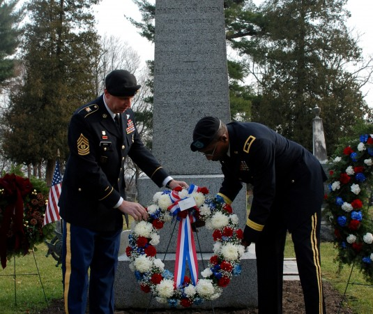 New York National Guard Brig. Gen. Renwick Payne, right, Director of the Joint Staff, and Command Sgt. Maj. Frank Wicks, present a memorial wreath at the grave site of President Martin Van Buren