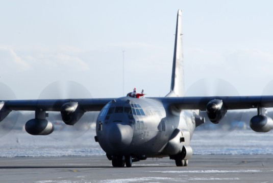 Santa Arrives by Air Guard C-130