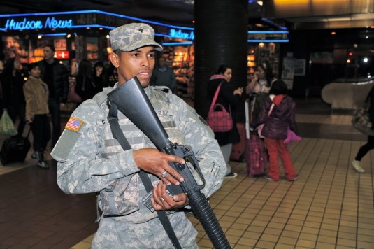 Soldier on duty in Penn Station Dec 24, 2011