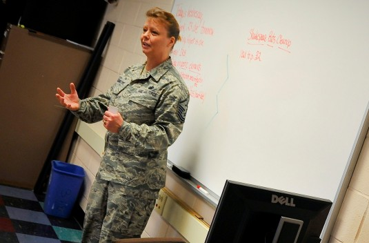 Master Sgt. Marlene C. Frankovic, a Stay on Track instructor with the New York National Guard Counterdrug Task Force, speaks to a classroom of children at Cohoes Middle School in Cohoes, N.Y., Jan. 18.