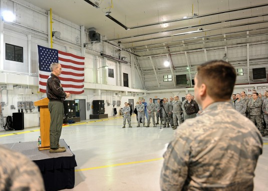 Commander of Air Combat Command talking to Hancock Field Airmen