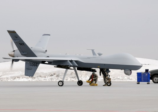 Members of the New York Air National Guard's 174th Fighter Wing place chalks on an MQ-9 returning from a training mission at Wheeler-Sack Army Airfield in Fort Drum NY, on 14 Feb 2012.