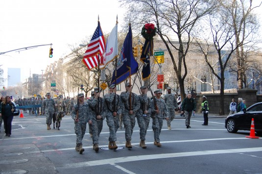 Soldiers of the New York Army National Guard's 1st Battalion 69th Infantry lead the annual St. Patrick's Day Parade down Broadway on Saturday March 17.