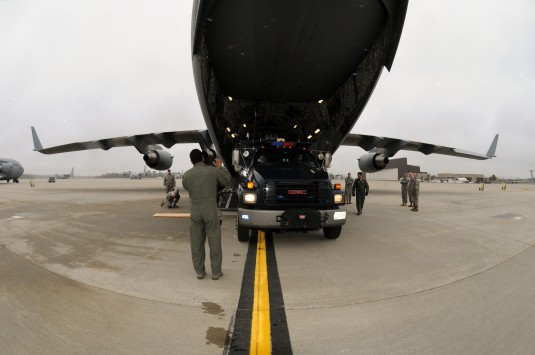 105th Airlift Wing loadmasters, aerial port personnel and members of the N.Y. Army Guard 2nd Civil Support Team practice loading their response package vehicles aboard a C-17 Globemaster III, Mar. 21, 2012.
