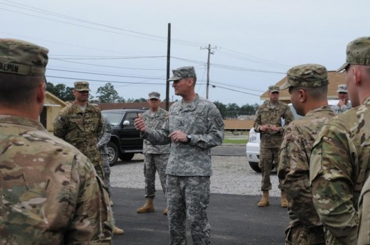 Major General Patrick Murphy, the Adjutant General of New York, speaks to New York Army National Guard Soldiers of the 2nd Battalion 108th Infantry during a visit to the Joint Forces Training Center here on April 4.