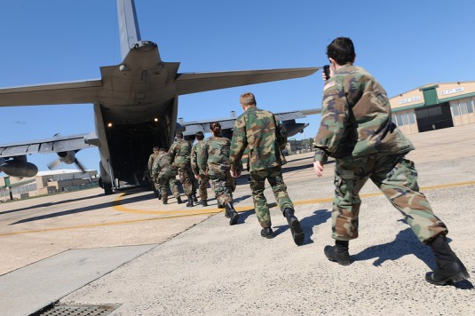 Cadets belonging to  the Leroy R. Grumman Cadet Squadron, Civil Air Patrol board an HC-130 belonging to the 106th Rescue Wing at F.S. Gabreski ANG on April 6, 2012 for an orientation flight.