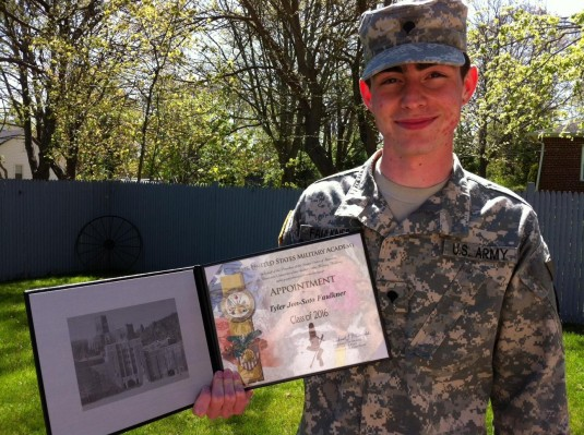 New York Army National Guard Spec. Tyler Faulkner, a Soldier in the 101st Expeditionary Signal Battalion, has been selected to attend the United States Military Academy at West Point.