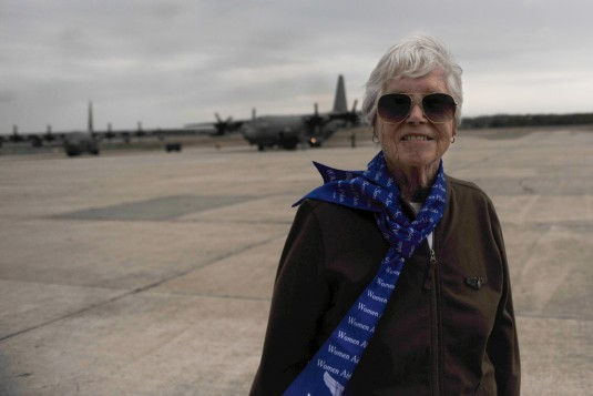 Eleanor C Faust, a Womens Air Force Service Pilot (WASP) during World War II  visits the 106th Rescue Wing at F.S. Gabreski Air National Guard Station on April 10, 2012.