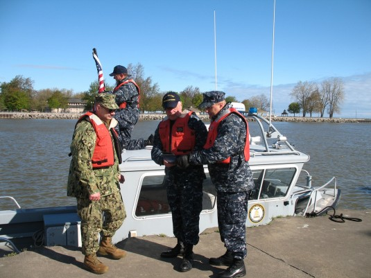New York Naval Militia members prepare for missions during a maritime counter terrorist drill conducted on Lake Ontario on May 10.