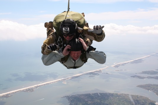 Air National Guard Command Chief Master Sergeant Christopher Muncy takes part in a tandem jump training session with Chief Master Sergeant Thomas Houghton over FS Gabreski Air National Guard Base.