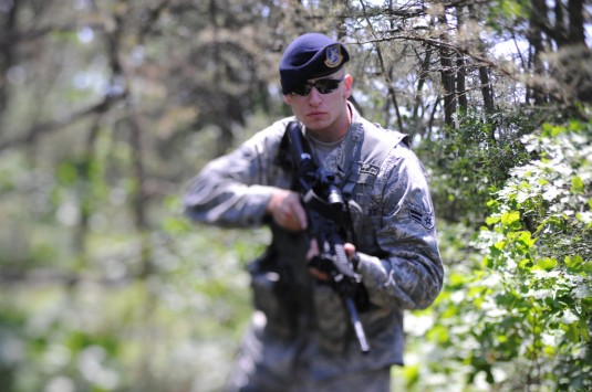 New York Air National Guard Airman First Class Luke McNamara conducts a patrol at FS Gabreski Air National Guard Station  on May 29, 2012.