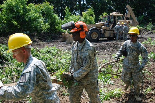 Soldiers from New York Army National Guard's 1156th Engineer Battalion and 152nd Engineer Company leveled trees and removed tons of underbrush in the ruins of the Erie Canal located in the center of the City of Cohoes on June 11 as part of a trail-