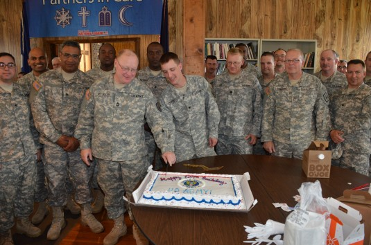 than 40 New York Army National Guard Soldiers gathered here June 14th at the Chaplain Duffy Chapel/Spiritual Fitness Center to celebrate the Army's 237th Birthday
