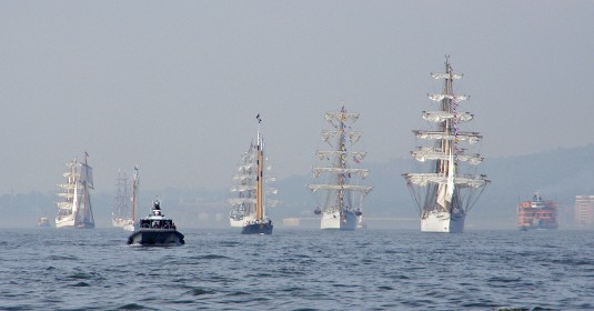 New York Naval Militia Patrol Boat BP440 appears to lead the Parade of Tall Ships during Fleet Week ceremonies in New York City on May 23, 2012