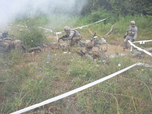 Soldiers of the 101st Expeditionary Signal Battalion conduct training on the tactical manuever lanes here on July 26 during pre-mobilization training.