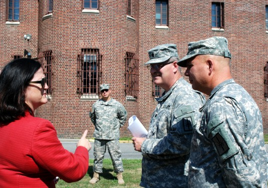 Katherine Hammack, Assistant Secretary of the Army for Installation, Energy and Environment discusses New York Army National Guard facilities energy conservation initiatives with Col. Ray Shields, New York National Guard Director of Joint Staff (Right) an