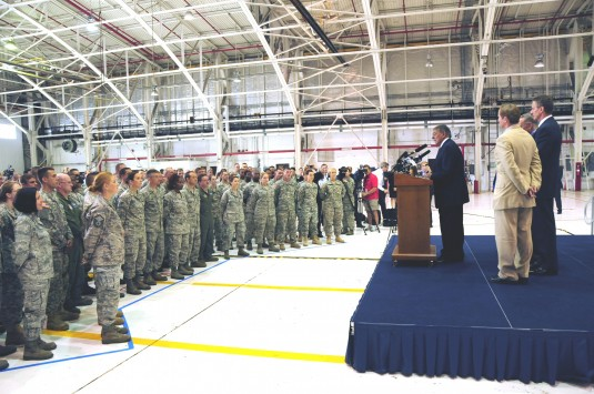 Members of the New York Air National Guard, Air Force Reserve, Army Reserve and New York Army National Guard, listen to Secretary of Defense Leon Panetta during his visit to Niagara Falls Air Reserve Station on Thursday, August 9.