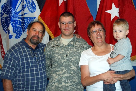 The Monfiletto family, Joe, Jonathan and Colleen and nephew Luke Roberson at the 138th PAD Mobilization Ceremony August 17, 2012