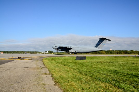 The last C-5A Galaxy assigned to the New York Air National Guard's 105th Airlift Wing lifts off on the final flight on Sept. 19.2012.