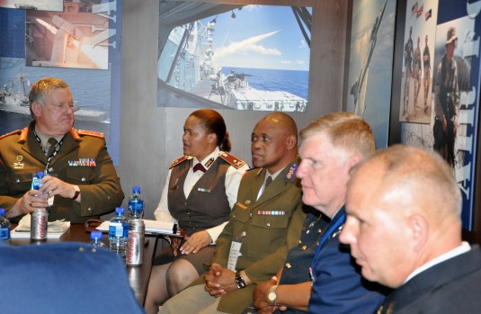Maj. Gen. Roy Andersen, Chief of the South African National Defence Reserve Forces, Brig. General Debbie Molefe, Director Defence Reserves, Chaplain Gen. Andrew Jamangile, Major Gen. Verle Johnston, the commander of the New York Air National Guard and Col