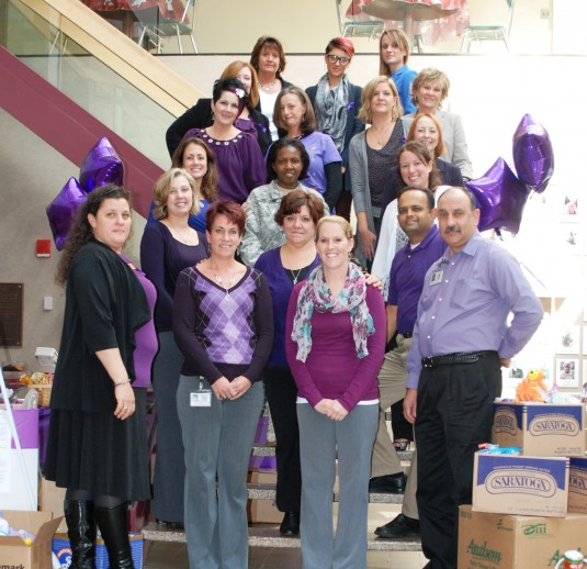 Members of the Joint Forces Headquarters staff got together to collect donations for a domestic violence shelter to mark Domestic Violence Awareness Month on Wednesday, Oct. 17.