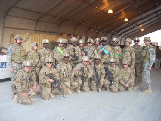 New York National Guard Command Sgt. Major Frank Wicks and Major General Patrick Murphy, the Adjutant General of New York, pose with members of the 427th Brigade Support Battalion during a visit to Afghanistan to meet New York National Guard Soldiers and