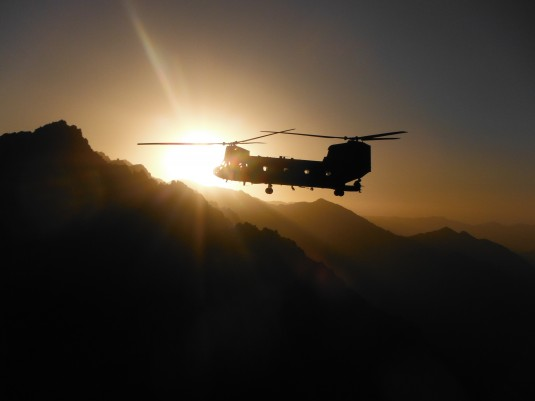 A New York Army National Guard CH-47 heads into the sun at the conclusion of a seven-hour mission conducted by Det. 1, Company B, 3-26th Aviation (Heavy Lift) on May 9, 2012.