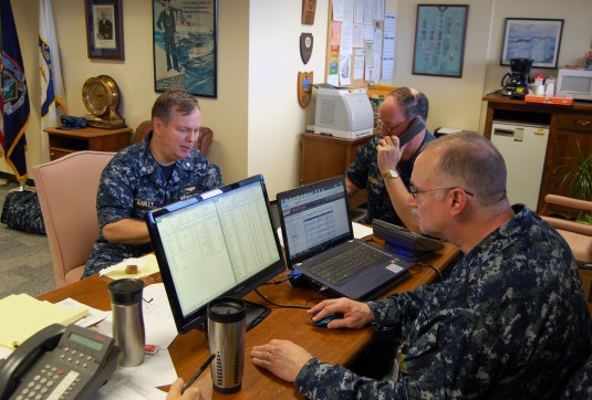LATHAM-- CDR. David Hawley, CW03 Larry Cassidy and MT1 Robert Morisseau of the New York State Naval Militia respond to requests for assistance in response to Hurricane Sandy on Tuesday, October 30, 2012.