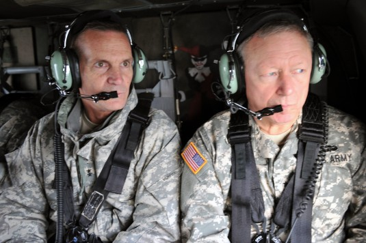 NEW YORK-- Army Major General Patrick Murphy, the Adjutant General of New York and Army Gen. Frank Grass, the chief of the National Guard Bureau survey the damage caused by Hurricane Sandy while flying in a New York Army National Guard UH-60 on Friday, No