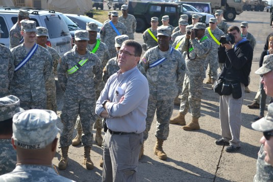 Deputy Secretary of Defense Ashton Carter speaks with Soldiers of the New York Army National Guard's 369th Sustainment Brigade during a visit here on Monday, Nov. 12.