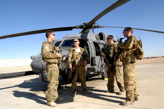 From left) New York Air National Guard Capt. Shaun Cullen, Capt. Tripp Zanetis, Tech. Sgt. Jim Denniston and Tech. Sgt. Erick Pound are all members of the 101st Rescue Squadron, an element of the 106th Rescue Wing, currently assigned to the 26th Expeditio
