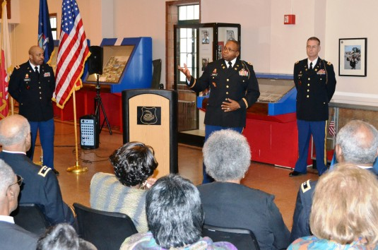 Col. Reginald Sanders, commander of the 369th Sustainment Brigade addresses unit members both past and present at the brigade's annual New Years Day social, here, Jan 1.