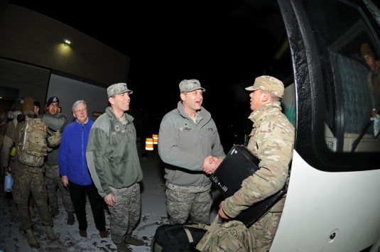 New York Air National Guard Col. Timothy J. LaBarge, commander of the 105th Airlift Wing, along with Cols. Matthew Godfrey, 105th vice  commander and Lori Scheuermann, mission support group commander, welcome home 31 members of the 105th Base Defense Squa