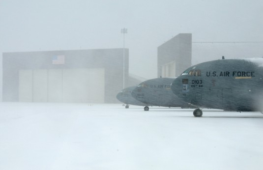 105th Airlift Wing C-17 Globemasters on the ramp as snowfall generated by winter storm Nemo intensifies here Feb 8, 2013.