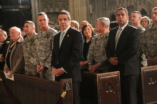 Governor Andrew Cuomo joins Major General Patrick Murphy, the Adjutant General of New York( on the governor's right) and Lt. Col. James Gonyo, the Commander of the 1st Battalion 69th Infantry and other members of the 1st Battalion 69th Infantry in