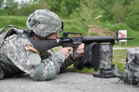 Pfc. Steven Birge, the Conecticut Army National Guard Soldier of the Year, fires downrange during the weapons qualification phase of the Regional Best Warrior Competition