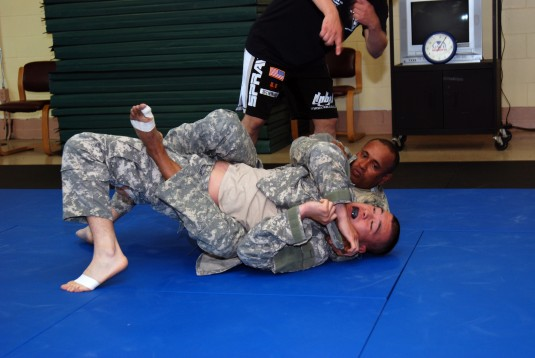 CAMP SMITH TRAINING SITE, Cortlandt Manor-- New York Army National Guard Soldiers test themselves against each other during combatives training conducted by the 106th Regional training institute here on Saturday, May 19.