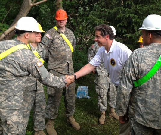 New York Governor Andrew Cuomo meets with engineers of the New York Army National Guard's 204th Engineer Battalion here today to thank them for their disaster recovery efforts following flash flooding throughout the Mohawk Valley that began June 28.