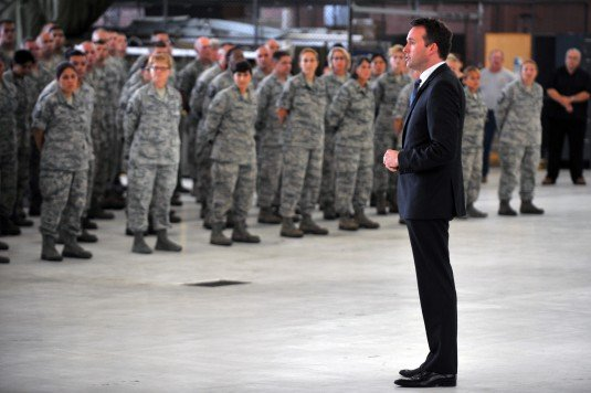 Acting Secretary of the Air Force Eric Fanning speaks to 300 members of the New York Air National Guard's 106th Rescue Wing during a visit to the unit on Thursday, July 25.