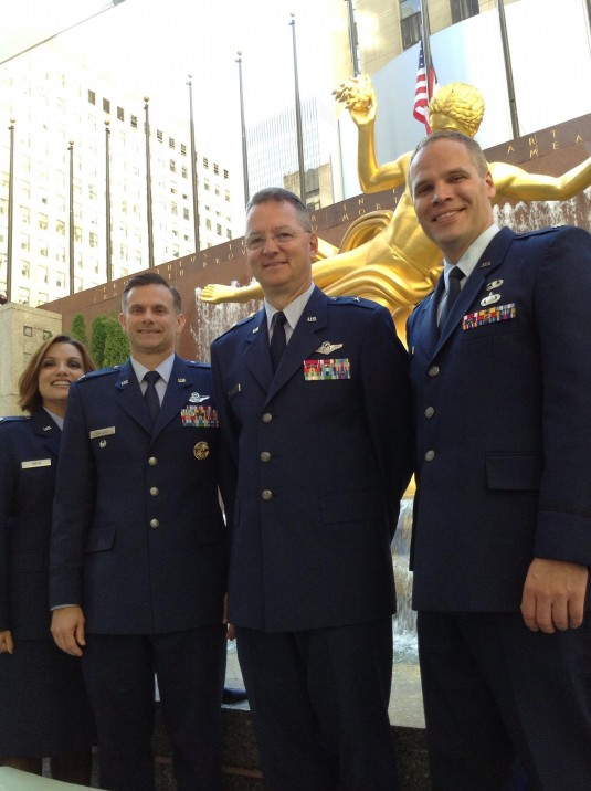New York Air National Guard Brigadier General Anthony German, second from right, joins fellow Air Force officers outside 30 Rockefeller Plaza, the headquarters of NBC before attending a taping of the Jimmy Fallon Show on Sept. 18.